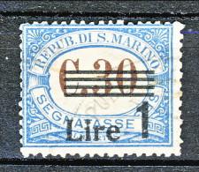 San Marino Tasse 1936-39 N. 50 Lire 1 Su C. 30 Azzurro Usato - Segnatasse