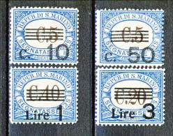San Marino Tasse 1940 Serie Sovrastampata Colore Azzurro N. 60 - 63 MNH - Segnatasse