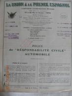 PARIS DIEPPE ANGIENS SOUSCRIPTION ASSURANCE A LA UNION & LE PHENIX ESPAGNOL 1937 - Banco & Caja De Ahorros