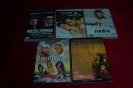 LOT DE 5 DVD ° UN COEUR AILLEUR + AGENTS SECRETS + 3 PETITES FILLES + LES MISERABLES + NADIA - Collections, Lots & Séries