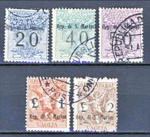 San Marino Tasse Per VAGLIA 1924 Serietta N. 1 - 5 Usati Firma Biondi (n. 4 Firma Fiocchi) - Segnatasse