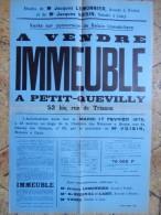 PETIT QUEViLLY ROUEN Affiche Vente Saisie Immobiliere Rue De Trianon 1976