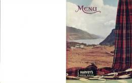 """Carton De Couverture De Menu - Publicité """"Harvey´s Scotch Whisky"""" - Alcools"""