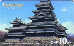 SUISSE PREPAID TELELINE MATSUMOTO CASTLE CHATEAU JAPON JAPAN 10FCH UT