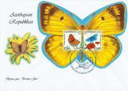 az1060F Azerbaijan 2014 Butterflies s/s FDC