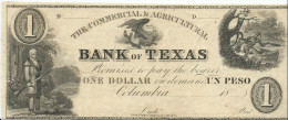 Bank ofTEXAS   1 $  = 1 Peso    18 - -  Rare !  Unissued  Remainder  UNC / FdS