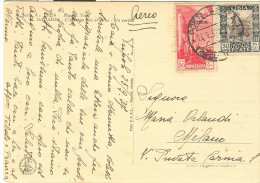 LIBIA, Cent.50+30, IN TARIFFA CARTOLINA VIA AEREA VIAGGIATA  1937, TRIPOLI-MILANO - Libya