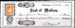 USA 1867 CHEQUE Of The BANK Of MADISON With 2 Cents US Internal Revenue