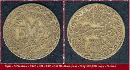 Syria - 5 Piastres - 1940 - KM - XXF - KM 70 - Rare Year - Only 500,000 Copy - Goma - Syria