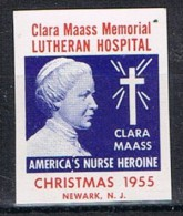 Stamp Lutheran Hosital, Christmas 1955. Clara Maass * - Errors, Freaks & Oddities (EFOs)