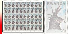 Rwanda 0830**  20c  Rapaces - Feuilles  / Sheet de 50 MNH - AIGLE HUPPE
