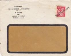 FRANCE Enveloppe IRIS 1F N° 433 YT NESLE Somme Cachet Ligne AMIENS GARE - 1921-1960: Période Moderne