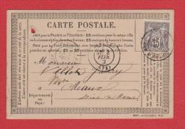 CARTE POSTALE  // DE PARIS     //  POUR MEAUX   //  3 FEV 1877 - Entiers Postaux