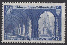 Timbre  De  France 1949,  Neuf ** MNH ' '  Yvert  N° 842 ' '  25 F. Abbaye De Saint-Wandrille - France