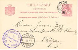 1900 Bk  Van 's-Gravenhage (Christelijke Vereeniging Van Jonge Mannen) Via AMSTERDAM-ANTWERPEN Van 2 MEI 00 Naar Basel - Periode 1891-1948 (Wilhelmina)