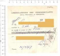 CREMONA 1957 - Associazione Dei Commercianti - Ricevuta - Fatture & Documenti Commerciali