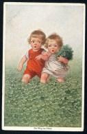 Fialkowska, W. - Der Weg Ins Gluck - Girl, Boy, Meadow, Clover ----- Postcard Not Traveled - Fialkowska, Wally