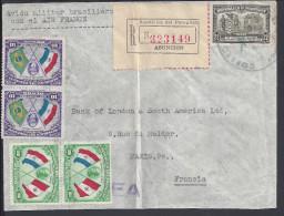 PARAGUAY - 1939 -  LETTRE EN RECOMMANDE DE ASUNCION POUR PARIS PAR AVION MILITAIRE BRESILIEN - - Paraguay