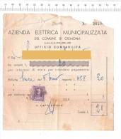 1958 - CREMONA - Azienda Elettrica Municipalizzata - Erinnofilia Elettricità - Fatture & Documenti Commerciali