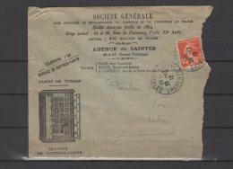 17 - Agence De Saintes -  Société Générale - Service De Coffres Forts - 1912 - Marcophilie (Lettres)