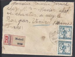 YOUGOSLAVIE - 1920 -  LETTRE RECOMMANDE DE MOHOL A DESTINATION DE ACY-LE-BAS - FR - (Aisne) - - 1919-1929 Kingdom Of Serbs, Croats And Slovenes