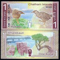Chatham Islands, 1 Koha, 2013 (2014), Polymer, UNC - Caraibi Orientale