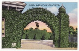 NEW ORLEANS LA METAIRIE CEMETARY GATEWAY~JOHNSTOIN TOMB MONUMENT C1940s Postcard [5726] - Missions