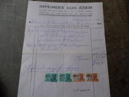 Facture Du 12/09/1950 De L'imprimerie Julien Joskin De Visé - Printing & Stationeries