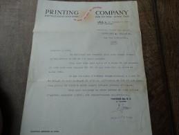 """Correctif D'une Facture De La Firme 'PRINTING COMPANY"""" Du 20/09/1945 - Printing & Stationeries"""