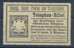 Bayern - 1894,  Telephon-Billet  20 Pfennig - Beieren
