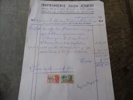Facture Du 10/09/1949 De L'imprimerie Joskin De Visé - Printing & Stationeries