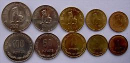 MYANMAR BURMA 5 MONETE   1999 CHINZE LION 1,5,10,50,100 KYAT UNC FDC UNC - Monete