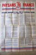 Aux Paysans de France.Discours prononc� � Pau par le Mar�chal P�tain,le 21 avril 1941.Affiche Originale.79 X 59 cm