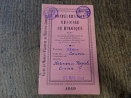 Carte De Choriste(confédération Musicale De Belgique) De La Société Harmonie Royale De Couvin -1950 - Musique & Instruments