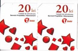 Moldova   Moldavie  Moldau ,  Prepaid Phonecards -  Unlte  ,  20 Lei  +20 Lei , Tipe 3 ,Paper , Used - Moldova