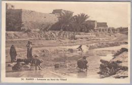 AK TUNISIE GABES 1932-06-28 Cachet Convoyeur Gabes à Sfax Laveuse Au Bord De L´Oued Photo Houet - Tunisie