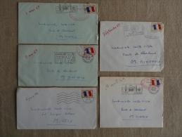 Lot 5 Lettres FM Années 69-70 Caserne Joffre 24éme R.I.M.4 Flammes Différentes. Voir Photos. - Cachets Militaires A Partir De 1900 (hors Guerres)