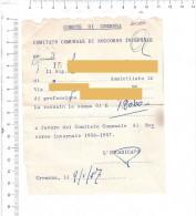 1957 - CREMONA - Comitato Comunale Soccorso Invernale - Ricevuta - Fatture & Documenti Commerciali