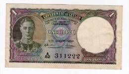 ONE RUPEE Government Of CEYLON  12.07.1944 - Sri Lanka