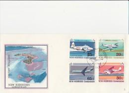 NOUVELLES - HEBRIDES -AVIONS- N° 318 A 321 SUR LETTRE FDC - ANNEE 1972 -
