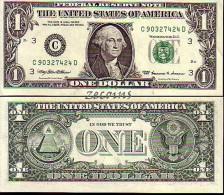 "U. S. A.  -  Banknote of 1 Dollar ""George Washington"" - ( �C-3"": Philadelphia) -  1999 -  AU"