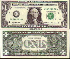"""U. S. A.  -  Banknote of 1 Dollar """"George Washington"""" - �D-4 Cleveland� -  1995 -  AU"""