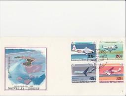 NOUVELLES - HEBRIDES -AVIONS- N° 322 A 325 -LEGENDE ANGLAISE- SUR LETTRE FDC - ANNEE 1972 -