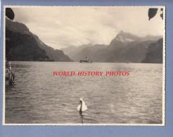 Photo ancienne - Lac d' URI - Vue de Br�nnen - Bateau Unterwalden - Lac des Quatre Cantons - 1960  - Suisse