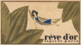 Carte Parfumée Rêve D´or Parfum De Lt Piver Maison Hubert Hardy à Chimay Parfumerie La Plus Ancienne Du Pays - Antiquariat (bis 1960)
