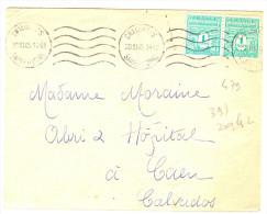LGM - ARC DE TRIOMPHE 1ère SERIE - 1F EN PAIRE HORIZ. CHALON S/S A CAEN 20/3/1945 - Marcophilie (Lettres)
