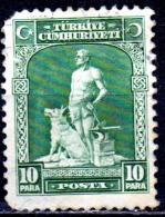 TURKEY 1929 Blacksmith & Grey Wolf - 10pa. - Green FU ROUNDED CORNER CHEAP - Unused Stamps