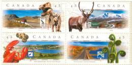 Canada 1998 Block Of 4 Scenic Highways - Dinosaur Prehistoric #1742a - 1952-.... Reign Of Elizabeth II