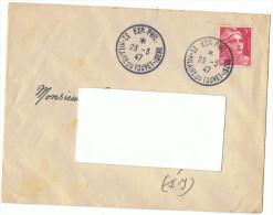 23/3/1947 - ENVELOPPE LETTRE - St-Hilaire Du Touvet Isère - Expo Philatélique  -Pour Elbeuf - Yvert Et Tellier N°719 - Expositions Philatéliques