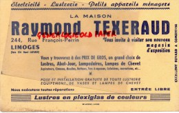 87 - LIMOGES - BUVARD RAYMOND TEXERAUD- 244 RUE FRANCOIS PERRIN- ELECTRICITE - LUSTRERIE - Electricité & Gaz